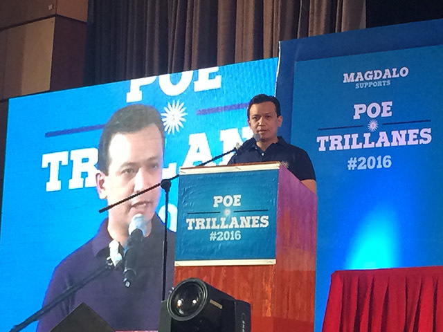 GOING FOR IT. Senator Antonio Trillanes IV formally announces his bid for the vice presidency on October 3, 2016. Rappler photo