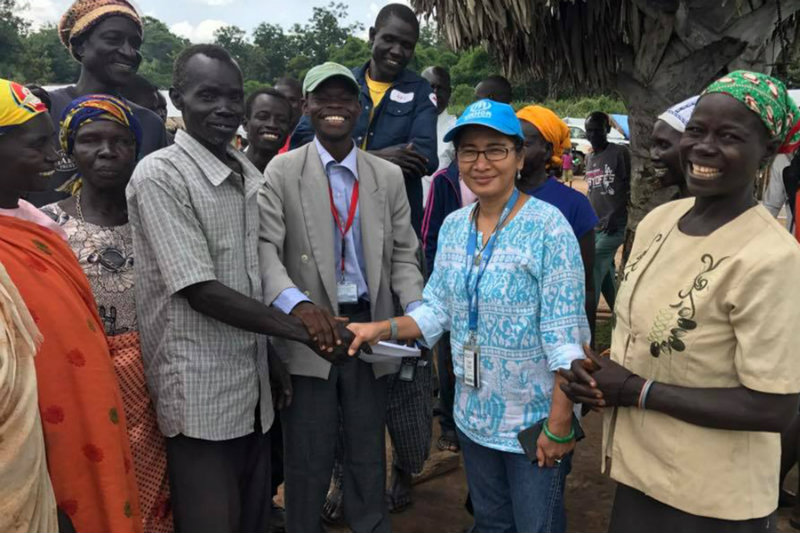 HUMANITARIAN WORK. Escalante (second from right) is one of the Filipino humanitarian workers in South Sudan.
