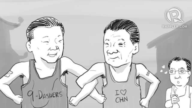 SIGA TO SIGA. Foreign Secretary Alan Peter Cayetano says this is how President Rodrigo Duterte and President Xi Jinping relate to each other. Illustration by Alejandro Edoria/Rappler
