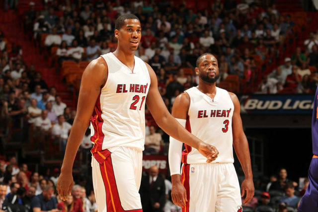 The emergence of Miami's Hassan Whiteside (L), seen here with teammate Dwyane Wade (R), has been one of the season's few bright spots. Photo from the Miami Heat Official Facebook page