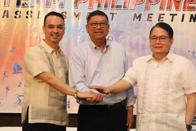 BEFORE THE FALL? Ricky Vargas (right) with Alan Peter Cayetano and PSC chair Butch Ramirez before he left the Philippine Olympic Committee. File photo from PSC