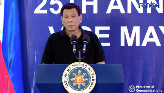 PRESIDENTIAL MESSAGE. President Duterte talks to vice mayors in Panglao, Bohol. RTVM screenshot