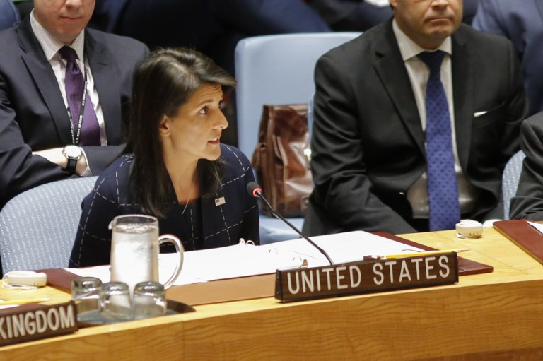 NIKKI HALEY. United States Ambassador to the United Nations Nikki Haley speaks at a UN Security Council meeting over North Korea's new sanctions on September 11, 2017 at the UN Headquarters in New York. Photo by Kena Betancur/AFP