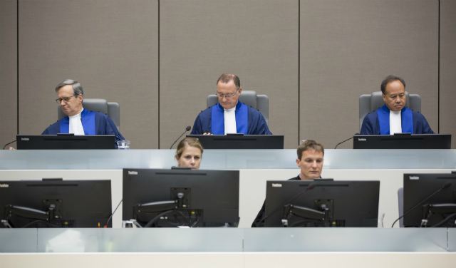 INDEPENDENT. Judge Marc Perrin de Brichambaut, Judge Bertram Schmitt, Presiding Judge, and Judge Raul Cano Pangalangan of the Trial Chamber VII of the International Criminal Court. Photo from the ICC-CPI