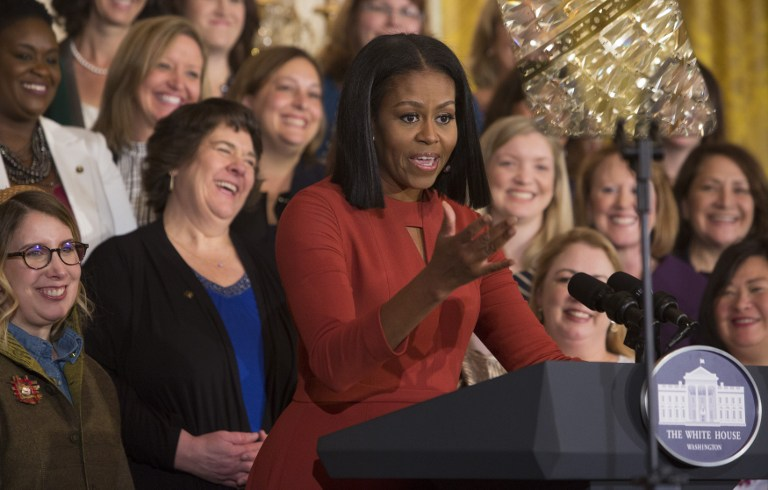 MICHELLE OBAMA. Michelle Obama gives her final remarks as US First Lady at the 2017 School Counselor of the Year event at the White House in Washington DC, January 5, 2017. File photo by Chris Kleponis/AFP