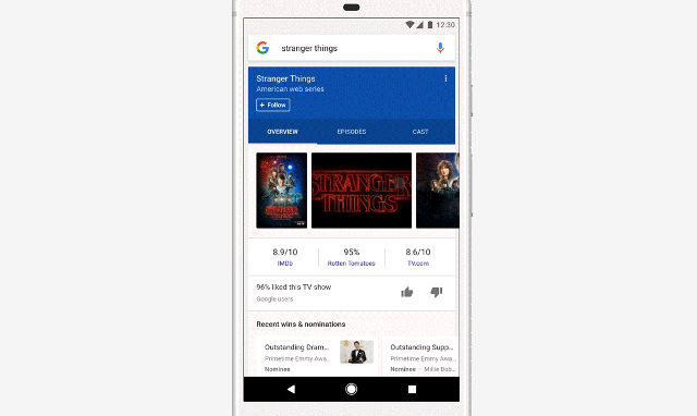 GOOGLE FEED. Search results on the Google app can be followed to provide information you want on your Google feed. Screen shot from Google blog post.