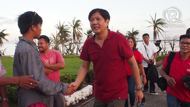 IN MOTHER'S HOMETOWN. Senator Bongbong Marcos arrives in Tacloban City, 17 November 2013. Photo by Jake Verzosa
