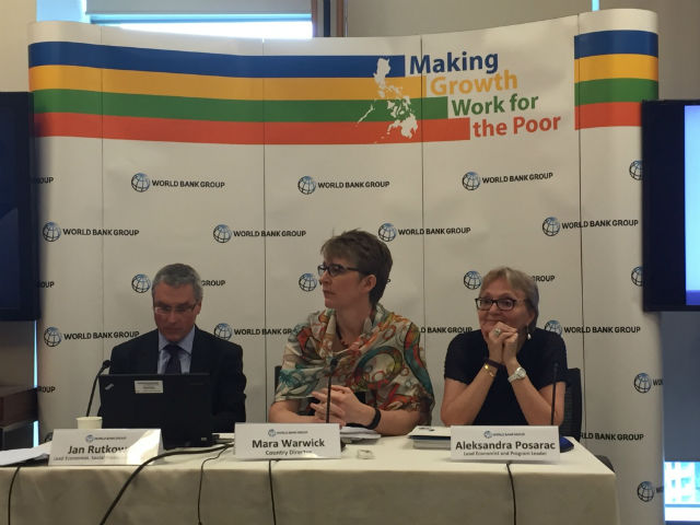 WB REPORT. World Bank lead economist Jan Rutkowski, country director Mara Warwick, and lead economist Aleksandra Posarac reveal the highlights of their latest Labor Market review report on June 17. Photo by Mara Cepeda/Rappler