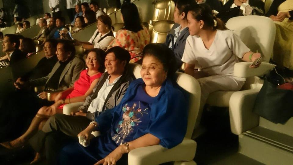 MOVIE PREMIERE. Senator Ferdinand Marcos Jr (center) with wife Liza (left), and mother former First Lady Imelda Marcos at the premiere of the Felix Manalo movie at the Philippine Arena on October 4. Photo from Marcos' Facebook page