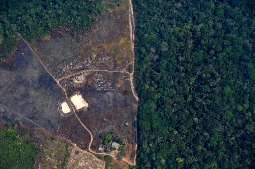 DEFORESTED LAND. Aerial picture showing a deforested piece of land in the Amazon rainforest near an area affected by fires, about 65 km from Porto Velho, in the state of Rondonia, in northern Brazil, on August 23, 2019. Photo by Carl de Souza/AFP