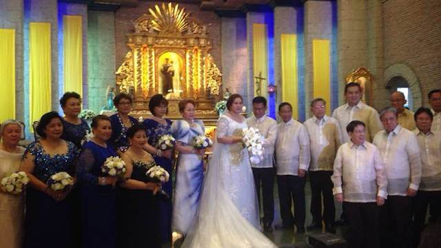 WED AT LAST. PDAF lawyer Levito Baligod weds Leyte politician Marilou Veloso-Galenzoga in Silang, Cavite on Wednesday, May 28. Among the godfathers is Vice President Jejomar Binay.