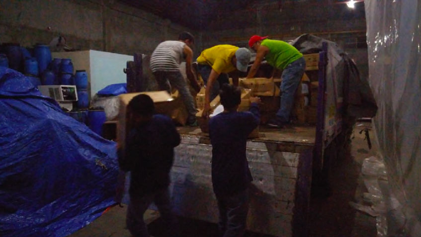 Seized items being unloaded in the warehouse in Binondo, Manila. Photo courtesty of Cetaphil