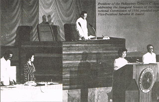 FIRST. President Corazon Aquino addresses the 1986 Constitutional Commission during its inaugural session. Photo from the Official Gazette