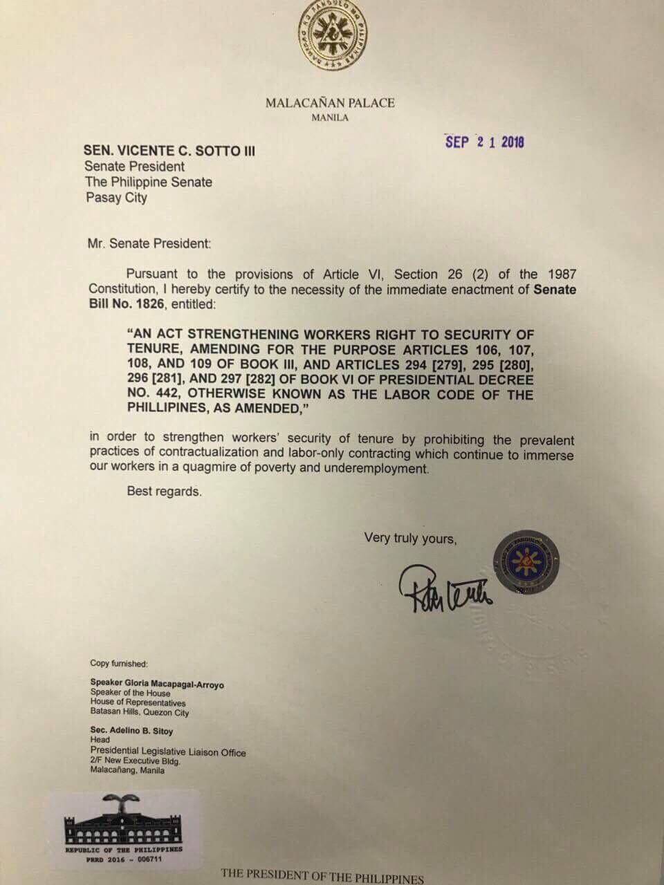 URGENT. President Rodrigo Duterte certifies Security of Tenure bill as urgent. Photo courtesy of Sentro