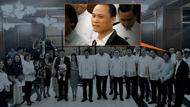 BAPTISM GUEST. Michael Yang, rightmost, poses with other guests at the baptism of the son of Nicanor Faeldon on April 18, 2018. Photo from Philippine Full Win Group of Companies website