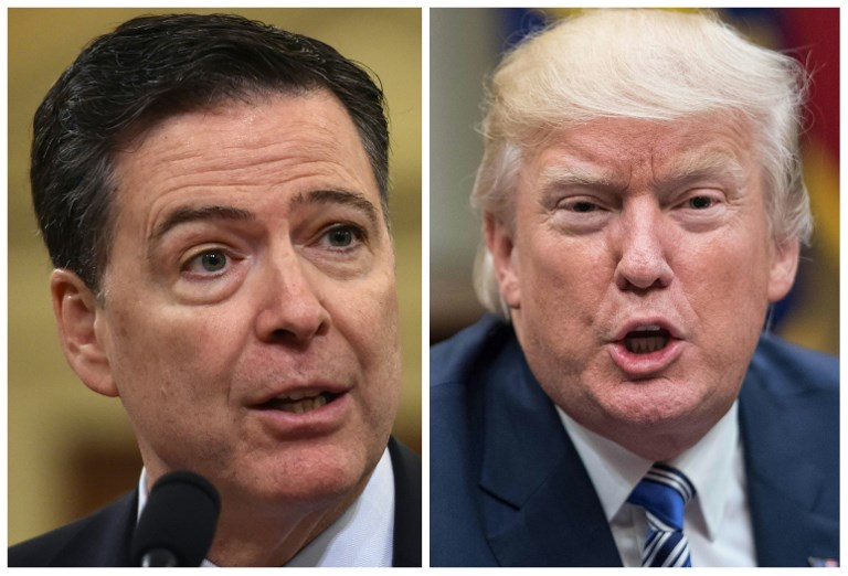 RUSSIA PROBE. These two file photos show then FBI Director James Comey (left) in Washington, DC, on March 20, 2017; and US President Donald Trump in Washington, DC, on June 6, 2017. File photos by Nicholas Kamm/AFP