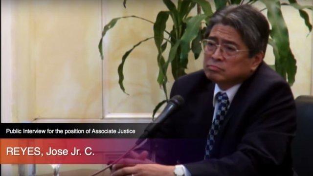 NEW SC JUSTICE. Jose Reyes Jr is President Rodrigo Duterte's latest appointee to the Supreme Court. Screenshot from JBC interviews