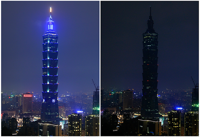 TAIPEI 101. A composite photo of two images with lights on (top) and off (below) showing the Taipei 101 skyscraper marking the Earth Hour 2016, in Taipei, Taiwan, 19 March 2016. Ritchie B. Tongo/EPA