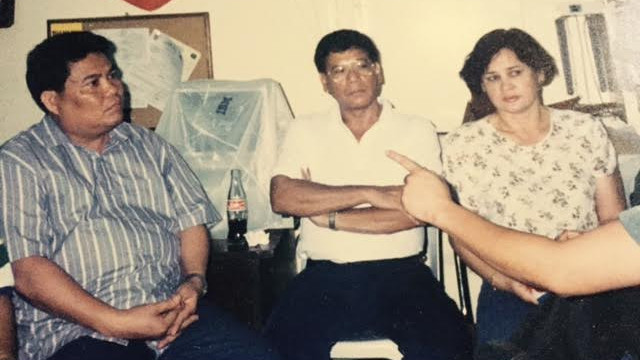 RELATIONSHIPS. This is an old photo of Duterte (middle) beside former wife Elizabeth Zimmerman. Photo courtesy of Editha Caduaya/Rappler