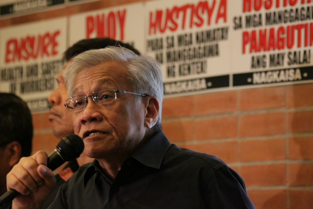 APPEAL. Walden Bello urges Congress to pass the Security of Tenure Bill. Photo by Rodel Bau00f1ares/Sentro