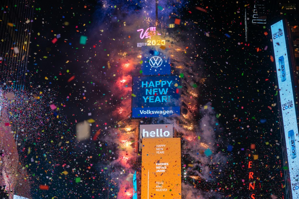 BALL DROP. Revelers at Times Square during the New Year's celebration on January 1, 2020 in New York City.