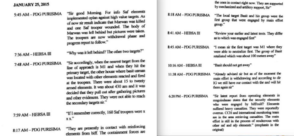 The text messages between Purisima and Aquino on January 25, 2015. Screenshot from Ombudsman Conchita Carpio Morales' resolution