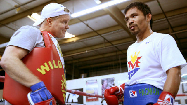 STILL IMPROVING. Manny Pacquiao has ways to go with his training. File photo by Chris Farina - Top Rank