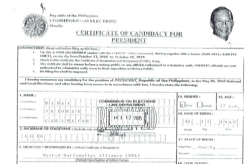 A part of Binay's certificate of candidacy.