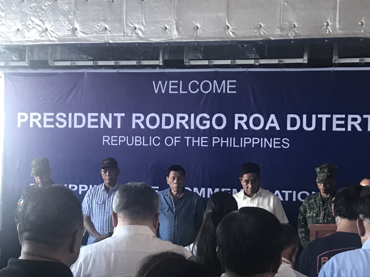 PHILIPPINE RISE. President Rodrigo Duterte arrives at BRP Davao del Sur at around 3:45 pm on May 15, 2018, to commemorate the renaming of Benham Rise as Philippine Rise. Malacau00f1ang pool photo
