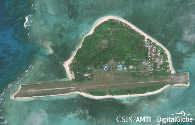 PAG-ASA ISLAND. An aerial view of the Philippines' largest outpost in the West Philippine Sea. Photo from the Center for Strategic and International Studies/Asia Maritime Transparency Initiative