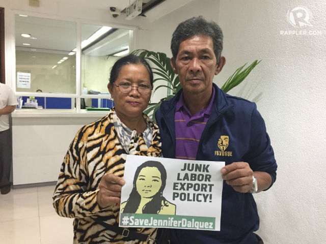 'SAVE JENNIFER.' Alicia and Abdulhamid Dalquez are asking the government to help their daughter Jennifer get out of death row in UAE. Photo by Mara Cepeda/Rappler