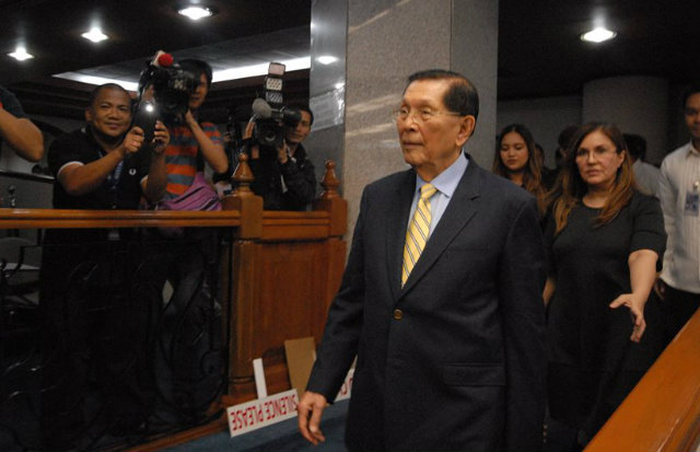 FREE AGAIN. Senator Juan Ponce Enrile, who's out on bail over corruption charges. File photo from Senate PRIB