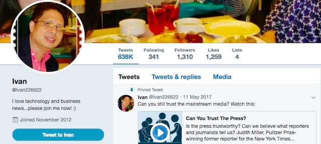 PROPAGANDA ACCOUNT. @ivan226622 is one of many fake accounts that have been used for Russian propaganda. Screenshot by Rappler