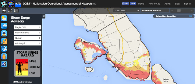 DETAILED HAZARD MAPS. A screen shot of a sample storm surge hazard map from Project NOAH.