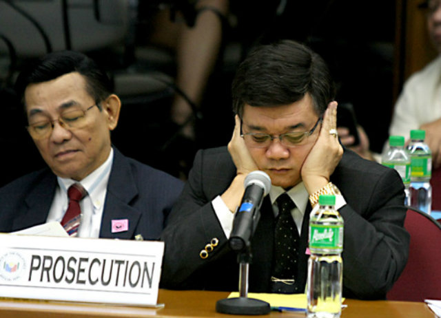 MIRIAM'S NEMESIS. Santiago earns criticism from a theologian and a bold gesture from impeachment prosecutor Vitaliano Aguirre for berating prosecutors as 'gago.' File photo by Edward Ganal/Senate PRIB/Pool