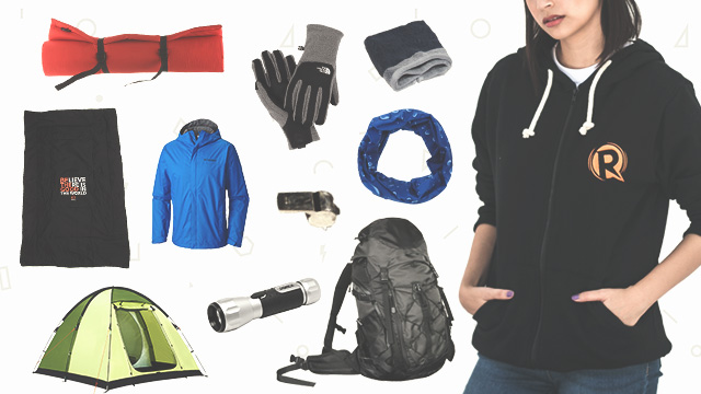 TOOLS OF THE TRADE. Never go hiking without these essentials. Find the Rappler Zip Hoodie (P850) and Be The Good Pillow-mat (P560) on Rappler Shop