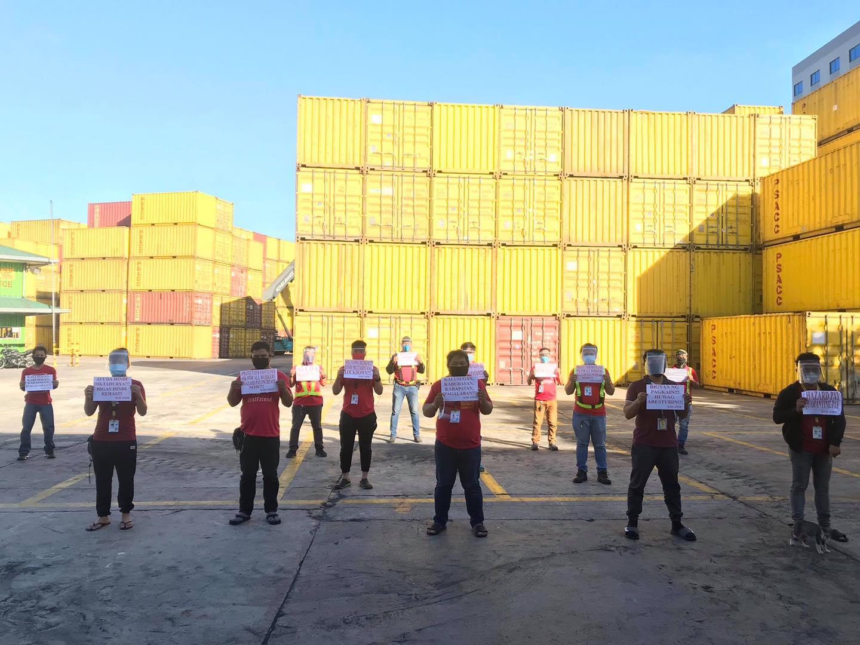 LABOR DAY. Members of the Samahan ng Manggagawa sa Philippine Span Asia Carrier Corporation and KMU-Pier stage a protest. Photo from Kilusang Mayo Uno Facebook page