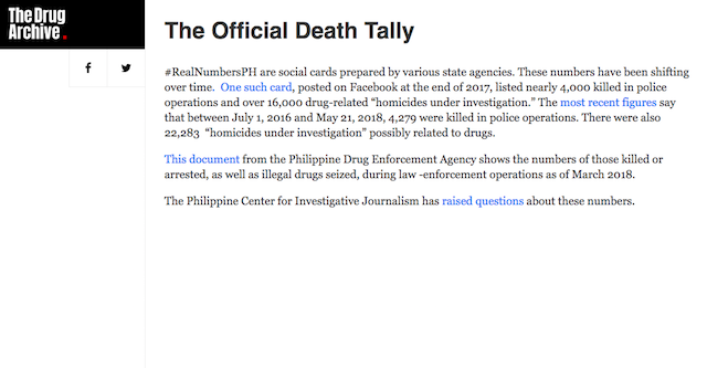 COMPILING COUNTS. The Drug Archive collects anti-drug campaign death tallies by the government. Screengrab from The Drug Archive website