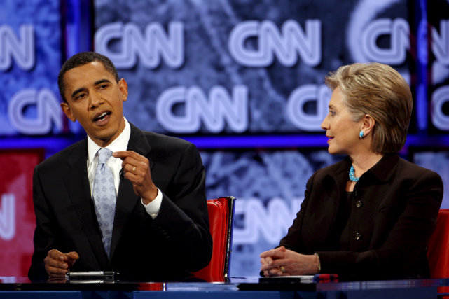 RIVALS-TURNED-ALLIES. Bitter rivals during the 2008 campaign, Obama and Hillary Clinton worked together in crafting US foreign policy and will soon likely collaborate again for Hillary's 2016 campaign. File photo by Justin Lane/EPA