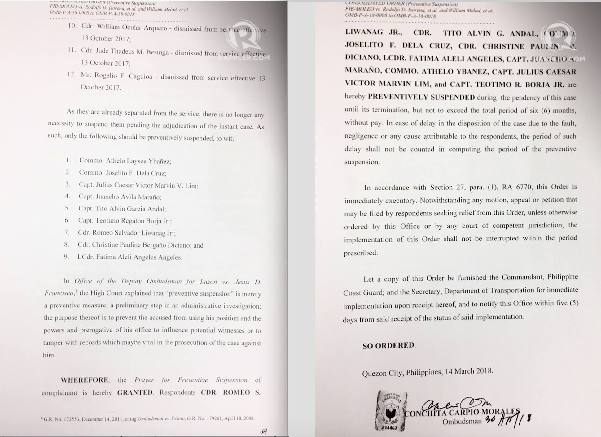 PREVENTIVE SUSPENSION. Ombudsman Conchita Carpio Morales metes out a preventive suspension against 9 Philippine Coast Guard officials.