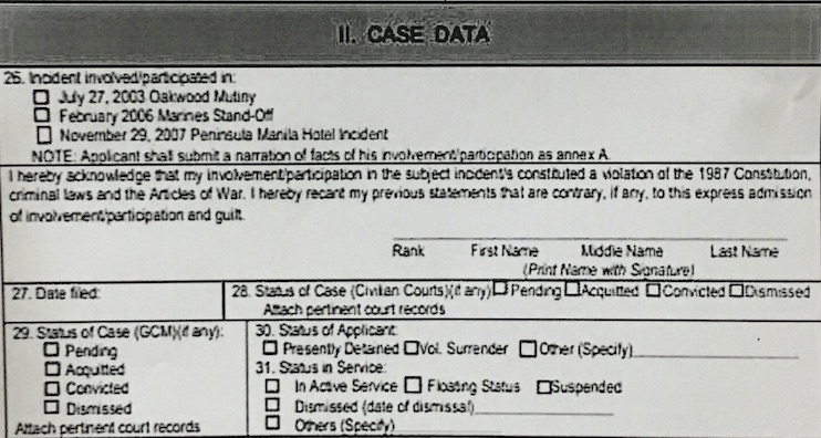 ADMISSION OF GUILT. Senator Trillanes says he admitted his guilt by signing this part of the application form in 2011.