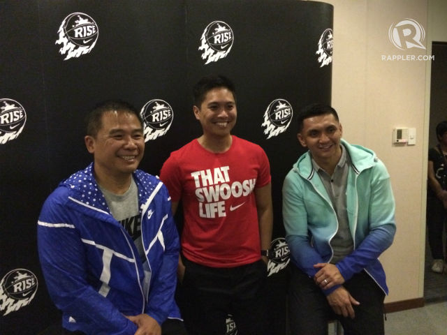 Nike PH Country Marketing Manager Patrick Reyes with Chot Reyes and Jimmy Alapag. Photo by Naveen Ganglani/Rappler
