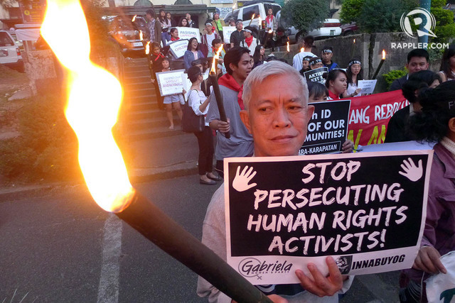 STOP KILLINGS. Cordillera human rights defenders urge the government to stop persecuting human rights activists. File photo by Mau Victa/Rappler