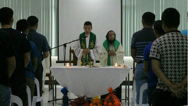FIRST MASS. Father Teresito 'Chito' Soganub officiates Mass inside a church in Camp Aguinaldo. Photo from the Philippine military
