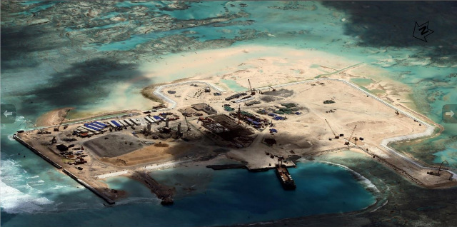 FUELING CONCERN. New images released by the Center for Strategic and International Studies u2013 such as this photo of Cuarteron Reef u2013 show the extent of China's reclamation activities in the South China Sea. Photo courtesy of CSIS