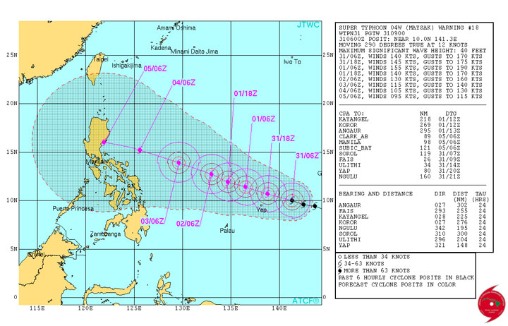 TRACK. The map shows the track of Typhoon Maysak as it approaches the Philippine area of responsibility as of Tuesday night, March 31. Screen grab from JTWC