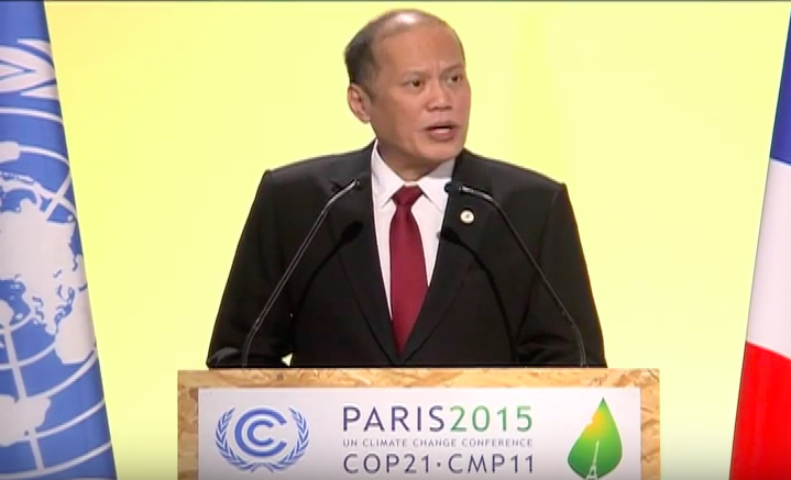 COP21 LEADERS' EVENT. Philippine President Benigno Aquino III joins about 150 other world leaders at the opening of the climate conference in Paris, France on November 30, 2015. Screen grab from RTVM Youtube video