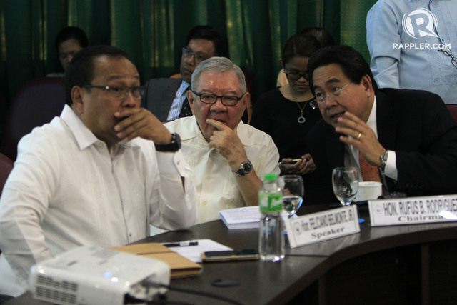NO ABSENCES. Outgoing House Majority Leader Neptali Gonzales II, outgoing House Speaker Feliciano Belmonte Jr, and Cagayan de Oro Representative Rufus Rodriguez all have perfect attendance during the 16th Congress. File photo by Rappler