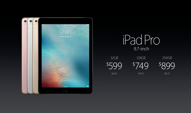 IPAD PRO. Pricing for the iPad Pro. Screen shot from Apple livestream