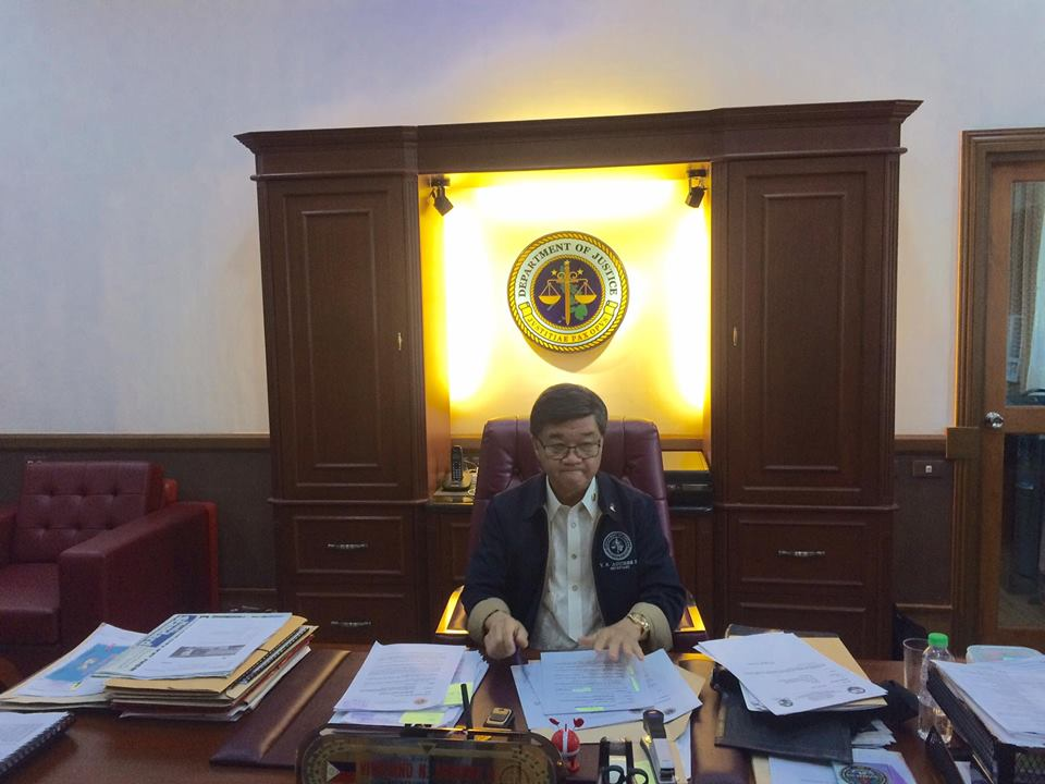 DOJ CHIEF. Justice Secretary Vitaliano Aguirre II inside his office at the DOJ Headquarters in Padre Faura, Manila taken during an interview with Rappler on June 1, 2017. Photo by Lian Buan/Rappler